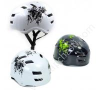 Шлем котелок защитный белый, черный (ВМХ, Skating, Freestyle)
