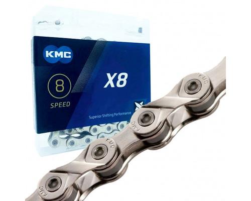Цепь для велосипеда KMC X8, 8 spd., 116 зв. серебро
